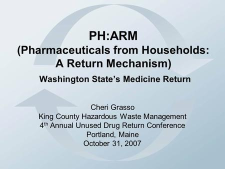 PH:ARM (Pharmaceuticals from Households: A Return Mechanism) Washington State's Medicine Return Cheri Grasso King County Hazardous Waste Management 4 th.
