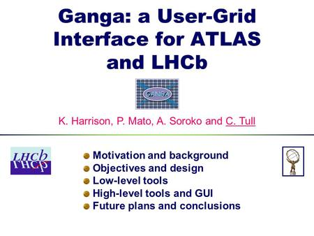 Ganga: a User-Grid Interface for ATLAS and LHCb Motivation and background Objectives and design Low-level tools High-level tools and GUI Future plans and.