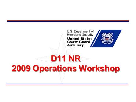 D11 NR 2009 Operations Workshop. Welcome This seminar is designed to be a refresher of basic Surface Operations processes and procedures to promote safety.