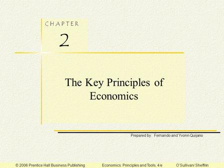 C H A P T E R 2 Prepared by: Fernando and Yvonn Quijano © 2006 Prentice Hall Business Publishing Economics: Principles and Tools, 4/e O'Sullivan/ Sheffrin.