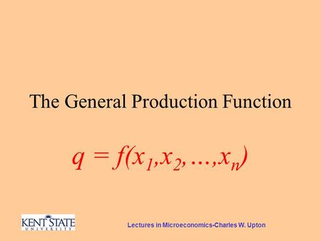 Lectures in Microeconomics-Charles W. Upton The General Production Function q = f(x 1,x 2,…,x n )