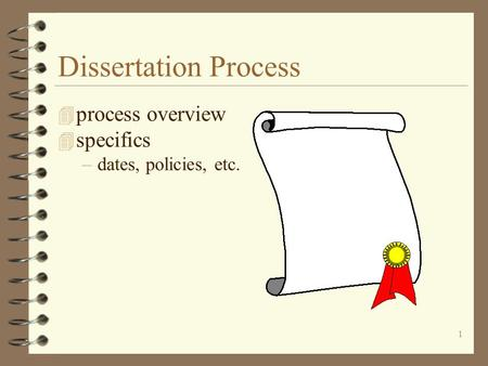 overview of the dissertation process In addition to integrating the dissertation process throughout the curriculum,  this media piece provides an overview of the first group of milestones,.