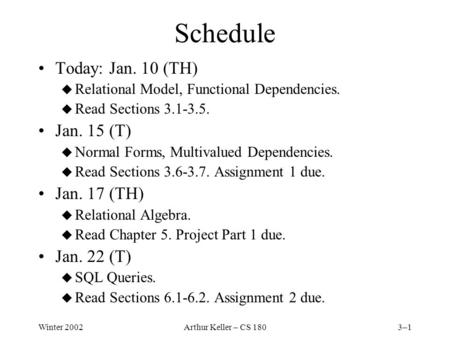 Winter 2002Arthur Keller – CS 1803–1 Schedule Today: Jan. 10 (TH) u Relational Model, Functional Dependencies. u Read Sections 3.1-3.5. Jan. 15 (T) u Normal.