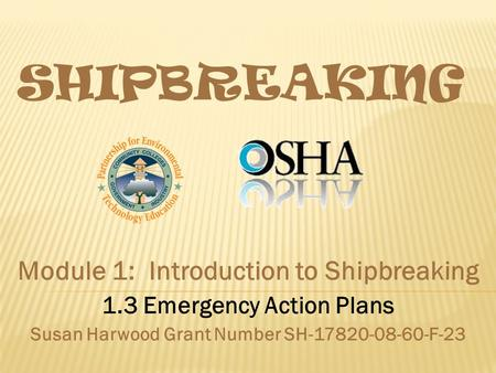 SHIPBREAKING Module 1: Introduction to Shipbreaking 1.3 Emergency Action Plans Susan Harwood Grant Number SH-17820-08-60-F-23.