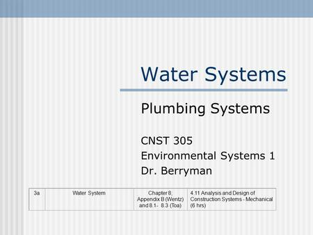 Water Systems Plumbing Systems CNST 305 Environmental Systems 1 Dr. Berryman 3aWater SystemChapter 8; Appendix B (Wentz) and 8.1- 8.3 (Toa) 4.11 Analysis.