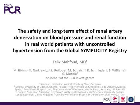 The safety and long-term effect of renal artery denervation on blood pressure and renal function in real world patients with uncontrolled hypertension.