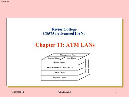 1 7/12/2015 15:20 Chapter 11ATM LANs1 Rivier College CS575: Advanced LANs Chapter 11: ATM LANs.