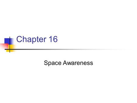 Chapter 16 Space Awareness. Chapter 16 Key Points One of the three categories of Movement Concepts Refers to where the body moves Fives aspects: 1. Location.
