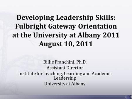 Billie Franchini, Ph.D. Assistant Director Institute for Teaching, Learning and Academic Leadership University at Albany.