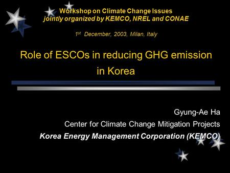 Workshop on Climate Change Issues jointly organized by KEMCO, NREL and CONAE 1 st December, 2003, Milan, Italy Role of ESCOs in reducing GHG emission.