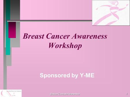 Breast Cancer Awareness 1 Breast Cancer Awareness Workshop Sponsored by Y-ME.