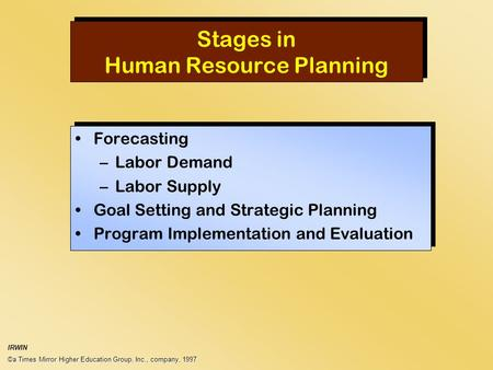 Stages in Human Resource Planning Forecasting –Labor Demand –Labor Supply Goal Setting and Strategic Planning Program Implementation and Evaluation Forecasting.