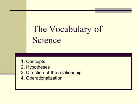 The Vocabulary of Science 1.Concepts 2.Hypotheses 3.Direction of the relationship 4. Operationalization.