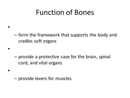 Function of Bones – form the framework that supports the body and cradles soft organs – provide a protective case for the brain, spinal cord, and vital.