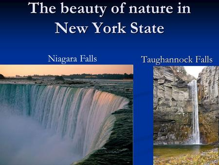 The beauty of nature in New York State Taughannock Falls Niagara Falls.