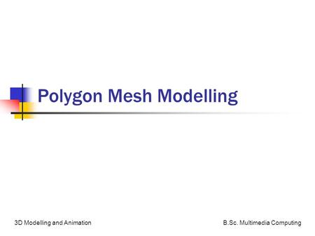 B.Sc. Multimedia Computing3D Modelling and Animation Polygon Mesh Modelling.