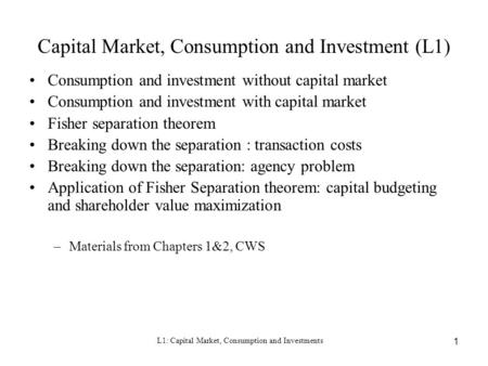 Capital Market, Consumption and Investment (L1)