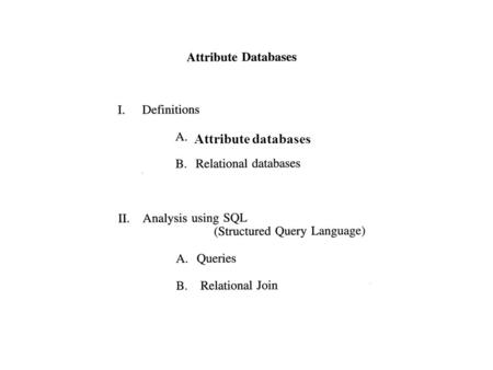 Attribute databases. GIS Definition Diagram Output Query Results.