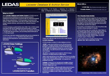 Leicester Database & Archive Service J. D. Law-Green, S. W. Poulton, J. Osborne, R. S. Warwick Dept. of Physics & Astronomy, University of Leicester LEDAS.