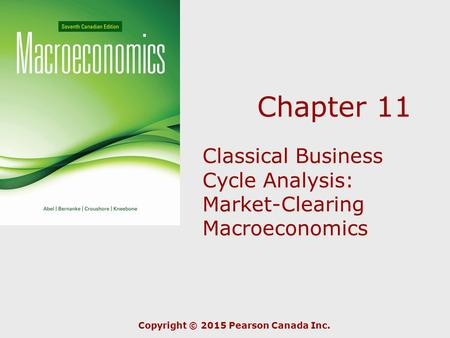 Chapter 11 Classical Business Cycle Analysis: Market-Clearing Macroeconomics Copyright © 2015 Pearson Canada Inc.