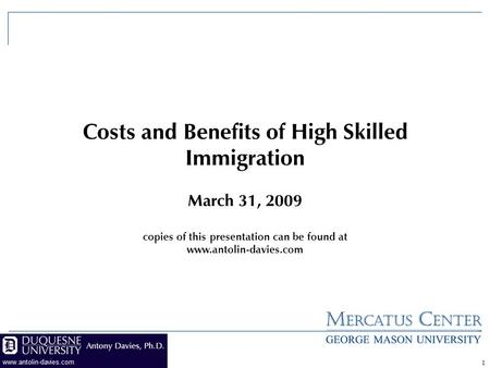 1 Costs and Benefits of High Skilled Immigration March 31, 2009 copies of this presentation can be found at www.antolin-davies.com.