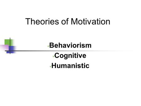 Theories of Motivation Behaviorism Cognitive Humanistic.