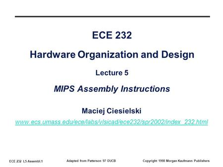 ECE 232 L5 Assembl.1 Adapted from Patterson 97 ©UCBCopyright 1998 Morgan Kaufmann Publishers ECE 232 Hardware Organization and Design Lecture 5 MIPS Assembly.
