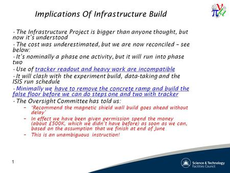 1 Implications Of Infrastructure Build The Infrastructure Project is bigger than anyone thought, but now it's understood The cost was underestimated, but.