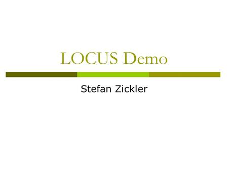"LOCUS Demo Stefan Zickler. Two ""different"" classes Class ""Car Side Views"" Class ""Car Rears"""