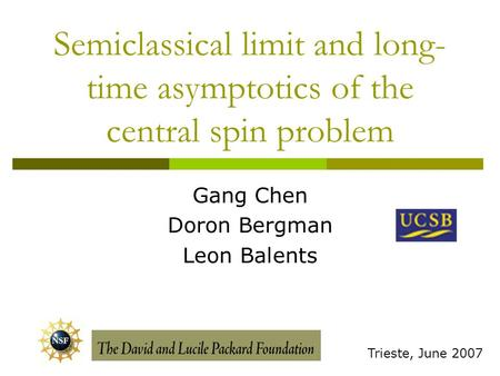 Semiclassical limit and long- time asymptotics of the central spin problem Gang Chen Doron Bergman Leon Balents Trieste, June 2007.