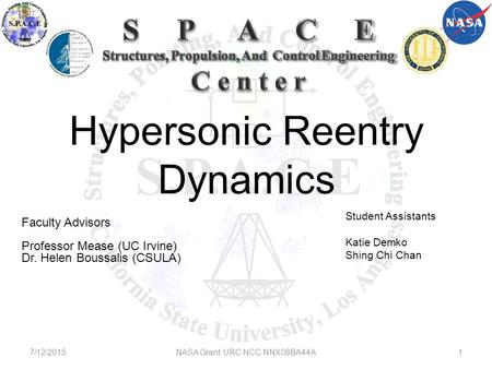 Hypersonic Reentry Dynamics Faculty Advisors Professor Mease (UC Irvine) Dr. Helen Boussalis (CSULA) Student Assistants Katie Demko Shing Chi Chan 7/12/2015NASA.
