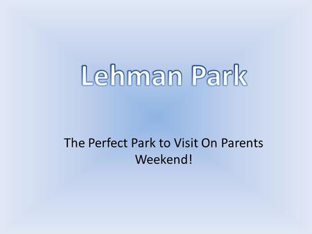 The Perfect Park to Visit On Parents Weekend!. Come, sit, relax and have a family picnic at Lehman Park.