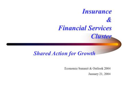Insurance & Financial Services Cluster Shared Action for Growth Economic Summit & Outlook 2004 January 21, 2004.