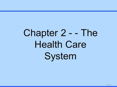 Slide 1 Chapter 2 - - The Health Care System. Slide 2 Health Care Delivery, Past and Present.