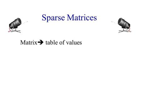 Matrix table of values