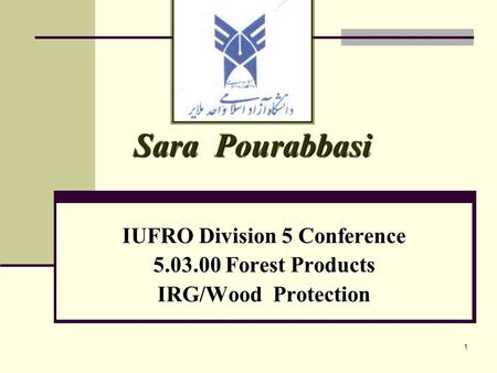 1 Sara Pourabbasi IUFRO Division 5 Conference 5.03.00 Forest Products IRG/Wood Protection.