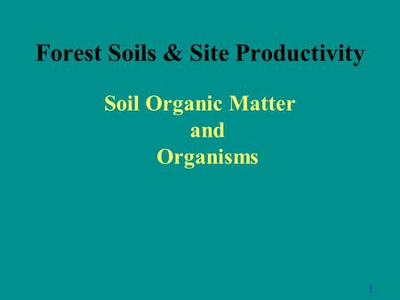 Forest Soils & Site Productivity Soil Organic Matter and Organisms 1.
