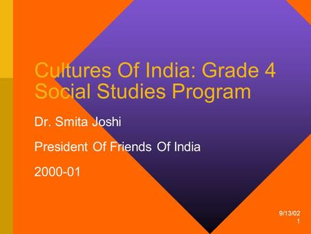 9/13/02 1 Cultures Of India: Grade 4 Social Studies Program Dr. Smita Joshi President Of Friends Of India 2000-01.