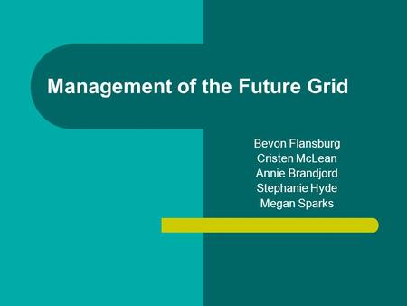 Management of the Future Grid Bevon Flansburg Cristen McLean Annie Brandjord Stephanie Hyde Megan Sparks.