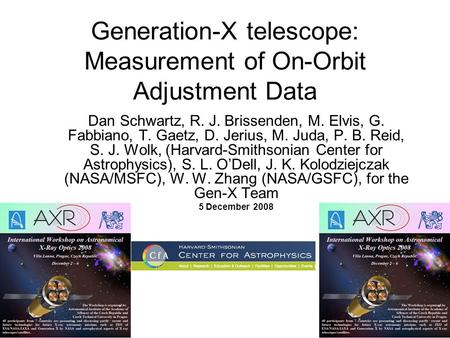 Generation-X telescope: Measurement of On-Orbit Adjustment Data Dan Schwartz, R. J. Brissenden, M. Elvis, G. Fabbiano, T. Gaetz, D. Jerius, M. Juda, P.