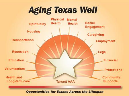 Health and Long-term care Volunteerism Recreation Education Spirituality Social Engagement Transportation Physical Health Mental Health Housing Caregiving.