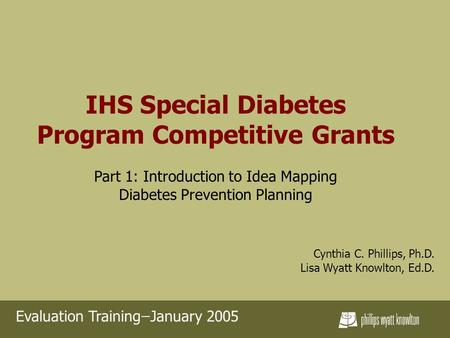 IHS Special Diabetes Program Competitive Grants Part 1: Introduction to Idea Mapping Diabetes Prevention Planning Cynthia C. Phillips, Ph.D. Lisa Wyatt.