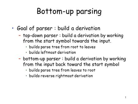 1 Bottom-up parsing Goal of parser : build a derivation –top-down parser : build a derivation by working from the start symbol towards the input. builds.
