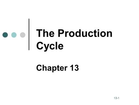 The Production Cycle Chapter 13.