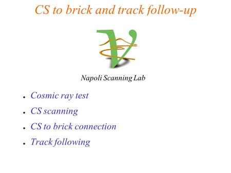 CS to brick and track follow-up ● Cosmic ray test ● CS scanning ● CS to brick connection ● Track following Napoli Scanning Lab.