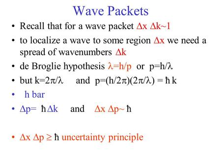 Wave Packets Recall that for a wave packet  x  k~1 to localize a wave to some region  x we need a spread of wavenumbers  k de Broglie hypothesis =h/p.