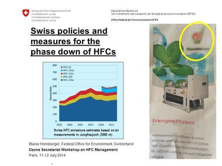Hfc workshop agust n s nchez guevara ozone unit coordinador m xico paris france july ppt download - Office federal de l environnement ...