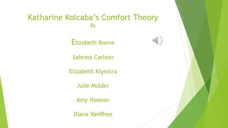 "reflection on kolcaba comfort theory Transcript of evolution of the mid range theory of comfort for outsomes research (kolcaba, 2001) ""nursing theory how do you think the comfort theory will."