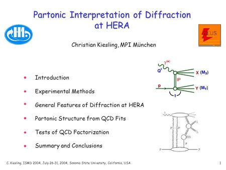 C. Kiesling, ISMD 2004, July 26-31, 2004, Sonoma State University, California, USA1 Partonic Interpretation of Diffraction at HERA Christian Kiesling,