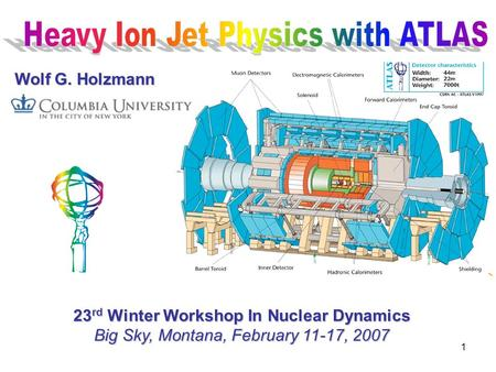 1 Wolf G. Holzmann 23 rd Winter Workshop In Nuclear Dynamics Big Sky, Montana, February 11-17, 2007.